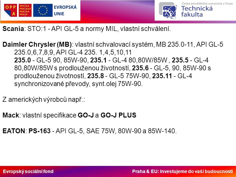 Evropský sociální fond Praha & EU: Investujeme do vaší budoucnosti Scania: STO:1 - API GL-5 a normy MIL, vlastní schválení. Daimler Chrysler (MB): vla