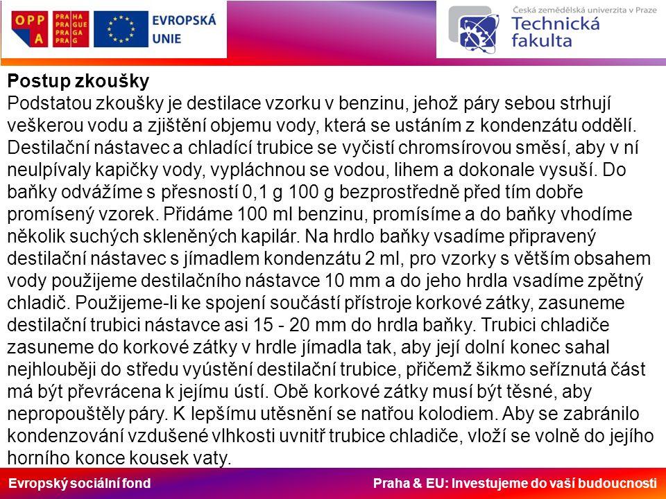 Evropský sociální fond Praha & EU: Investujeme do vaší budoucnosti Postup zkoušky Podstatou zkoušky je destilace vzorku v benzinu, jehož páry sebou st