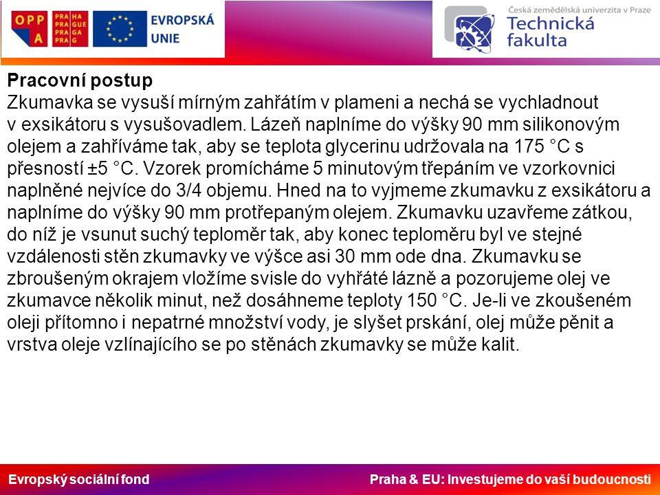 Evropský sociální fond Praha & EU: Investujeme do vaší budoucnosti Pracovní postup Zkumavka se vysuší mírným zahřátím v plameni a nechá se vychladnout
