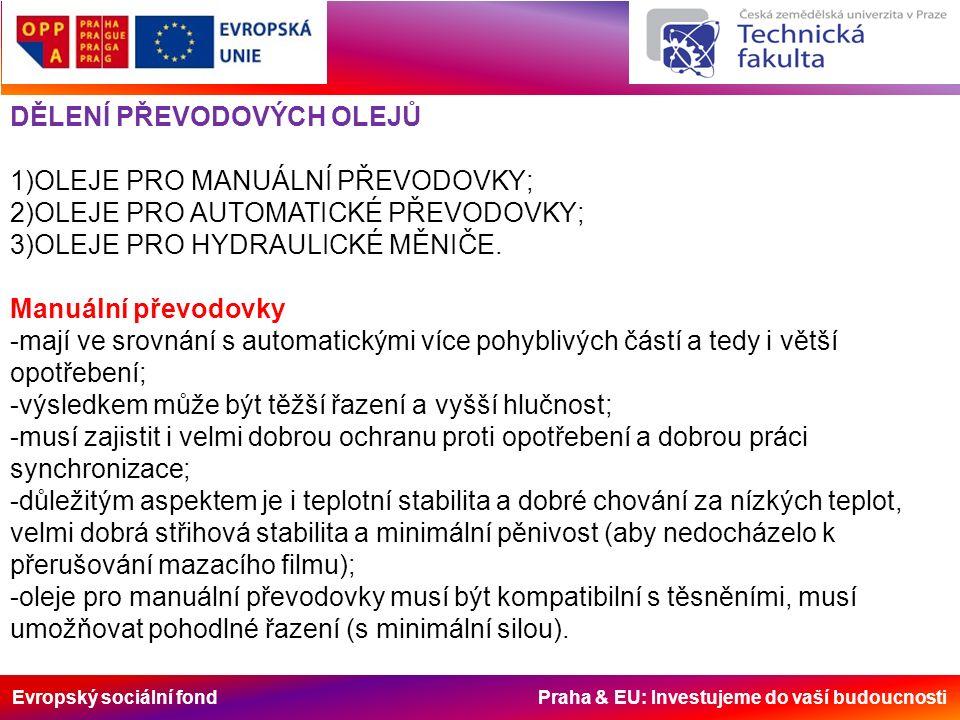 Evropský sociální fond Praha & EU: Investujeme do vaší budoucnosti Automatické převodovky -do automatických převodovek se používá převodový olej ATF (Automatik, Transmission Fluid); -hlavními požadavky na ATF jsou: 1)hladký přenos síly z motoru na hnací kola bez přímého zásahu řidiče; 2)schopnost pracovat jako hydraulická kapalina; 3)schopnost provozu za extrémních podmínek; 4)zajištění antikorozní ochrany; 5)minimální pěnivost 6)kompaktibilita s těsněními