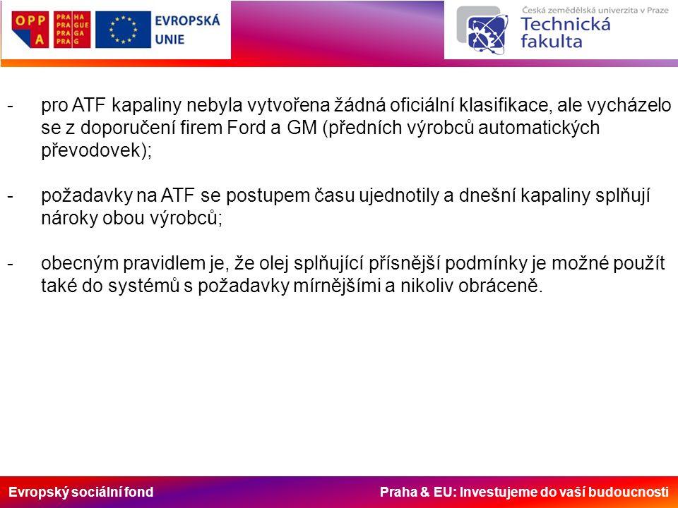 Evropský sociální fond Praha & EU: Investujeme do vaší budoucnosti -pro ATF kapaliny nebyla vytvořena žádná oficiální klasifikace, ale vycházelo se z