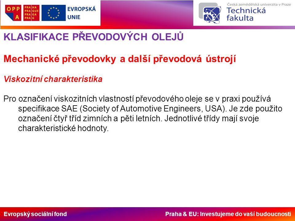 Evropský sociální fond Praha & EU: Investujeme do vaší budoucnosti KLASIFIKACE PŘEVODOVÝCH OLEJŮ Mechanické převodovky a další převodová ústrojí Visko