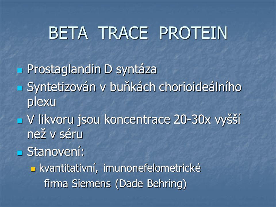BETA TRACE PROTEIN Referenční meze (firemní) Referenční meze (firemní) Sérum 0,33-0,59 mg/l Sérum 0,33-0,59 mg/l CSF 10,0-19,2 mg/l CSF 10,0-19,2 mg/l Likvorea 0,8 mg/l Likvorea 0,8 mg/l Z literatury 6,0 mg Z literatury 6,0 mg