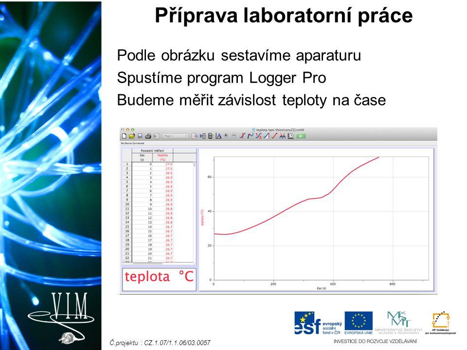 Č.projektu : CZ.1.07/1.1.06/03.0057 Podle obrázku sestavíme aparaturu Spustíme program Logger Pro Budeme měřit závislost teploty na čase Příprava laboratorní práce