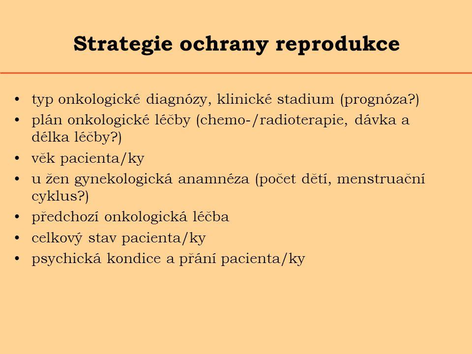 Strategie ochrany reprodukce typ onkologické diagnózy, klinické stadium (prognóza?) plán onkologické léčby (chemo-/radioterapie, dávka a délka léčby?)