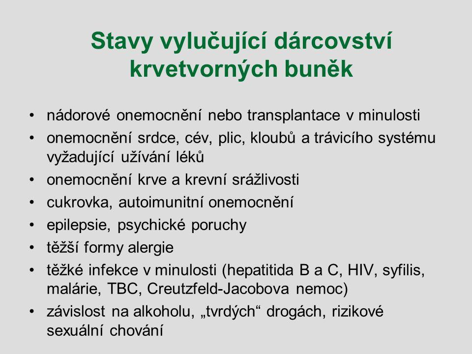 Stavy vylučující dárcovství krvetvorných buněk nádorové onemocnění nebo transplantace v minulosti onemocnění srdce, cév, plic, kloubů a trávicího syst