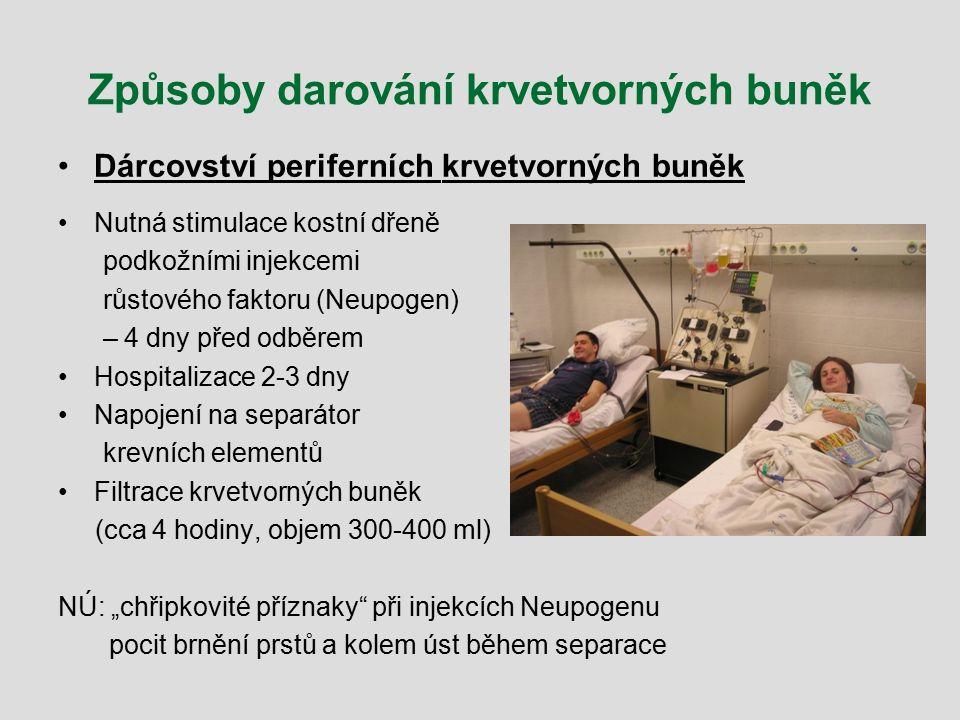 Způsoby darování krvetvorných buněk Dárcovství periferních krvetvorných buněk Nutná stimulace kostní dřeně podkožními injekcemi růstového faktoru (Neu
