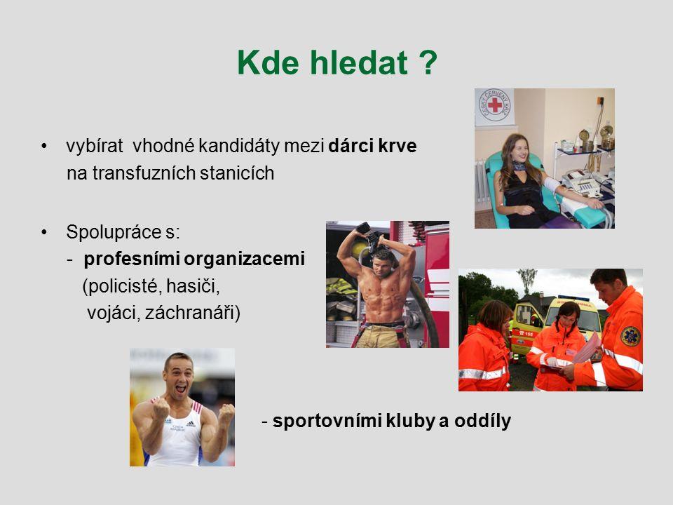Kde hledat ? vybírat vhodné kandidáty mezi dárci krve na transfuzních stanicích Spolupráce s: - profesními organizacemi (policisté, hasiči, vojáci, zá