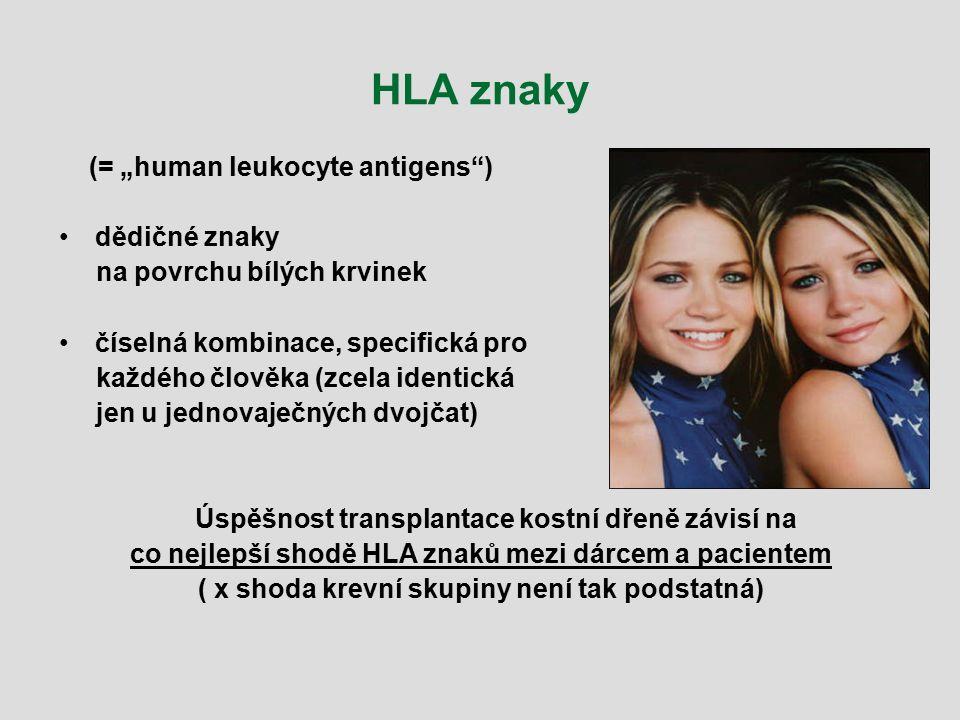 """HLA znaky (= """"human leukocyte antigens"""") dědičné znaky na povrchu bílých krvinek číselná kombinace, specifická pro každého člověka (zcela identická je"""