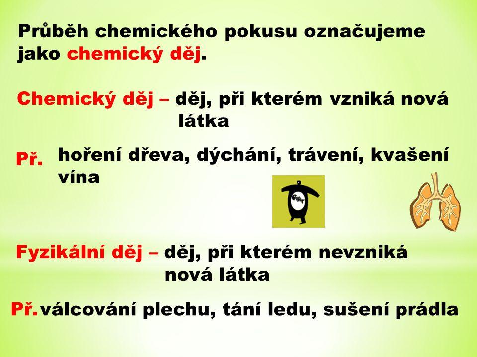 Průběh chemického pokusu označujeme jako chemický děj. Chemický děj – děj, při kterém vzniká nová látka Př. hoření dřeva, dýchání, trávení, kvašení ví