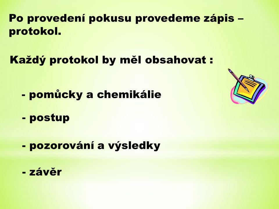 Po provedení pokusu provedeme zápis – protokol. Každý protokol by měl obsahovat : - pomůcky a chemikálie - postup - pozorování a výsledky - závěr