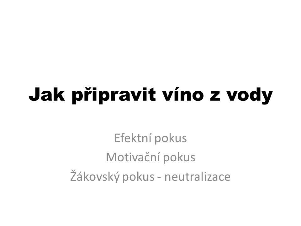 Jak připravit víno z vody Efektní pokus Motivační pokus Žákovský pokus - neutralizace