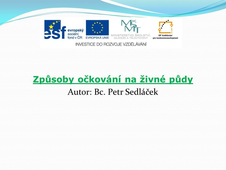 Způsoby očkování na živné půdy Autor: Bc. Petr Sedláček