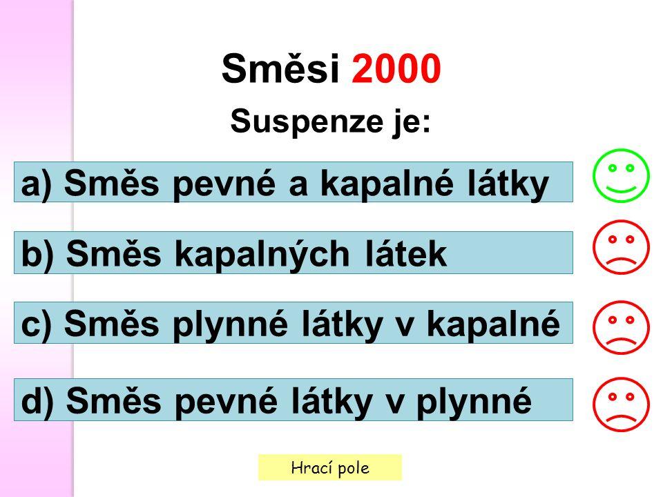 Hrací pole Směsi 2000 Suspenze je: a) Směs pevné a kapalné látky b) Směs kapalných látek c) Směs plynné látky v kapalné d) Směs pevné látky v plynné