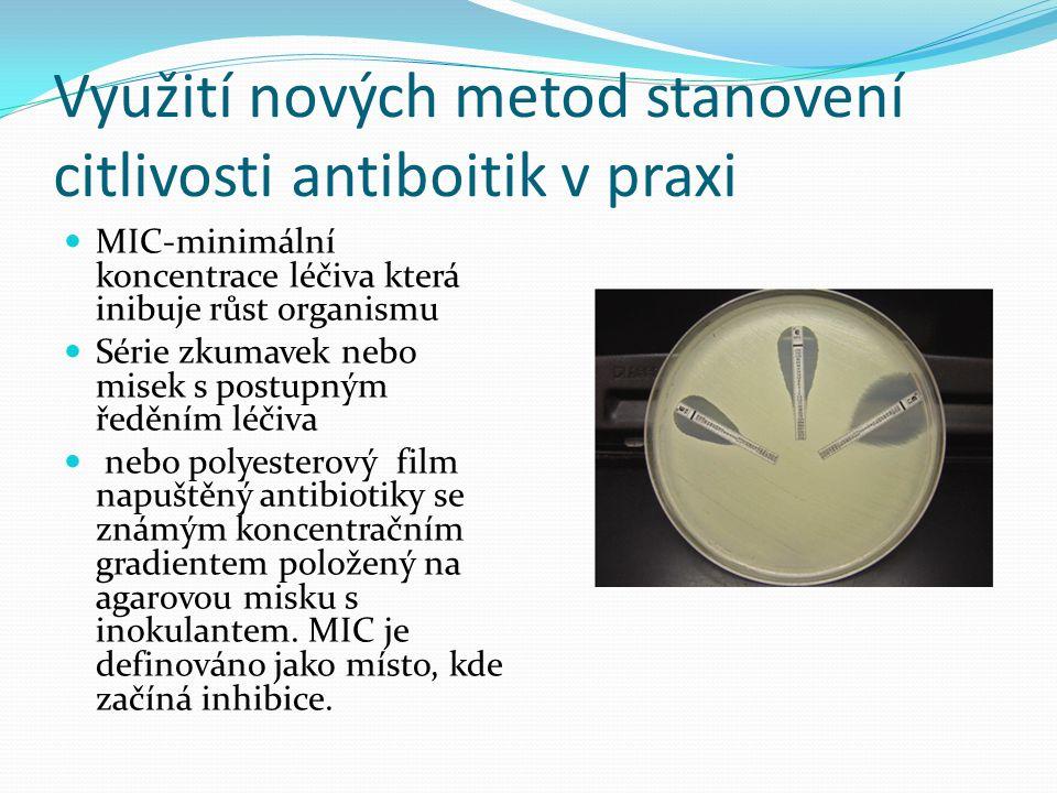 Využití nových metod stanovení citlivosti antiboitik v praxi MIC-minimální koncentrace léčiva která inibuje růst organismu Série zkumavek nebo misek s