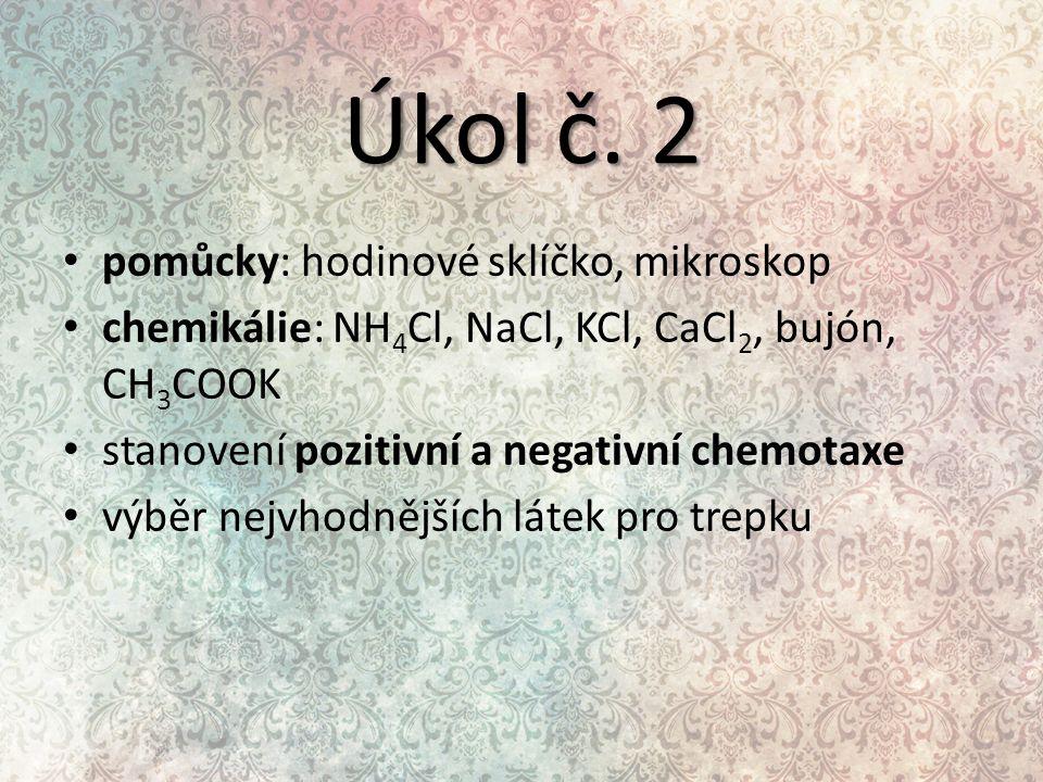 Úkol č. 2 pomůcky: hodinové sklíčko, mikroskop chemikálie: NH 4 Cl, NaCl, KCl, CaCl 2, bujón, CH 3 COOK stanovení pozitivní a negativní chemotaxe výbě