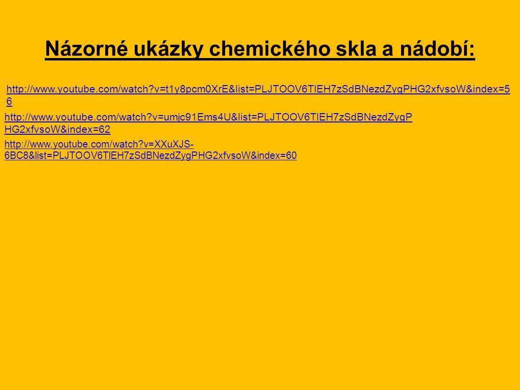 Názorné ukázky chemického skla a nádobí: http://www.youtube.com/watch?v=t1y8pcm0XrE&list=PLJTOOV6TlEH7zSdBNezdZygPHG2xfvsoW&index=5 6 http://www.youtube.com/watch?v=umjc91Ems4U&list=PLJTOOV6TlEH7zSdBNezdZygP HG2xfvsoW&index=62 http://www.youtube.com/watch?v=XXuXJS- 6BC8&list=PLJTOOV6TlEH7zSdBNezdZygPHG2xfvsoW&index=60
