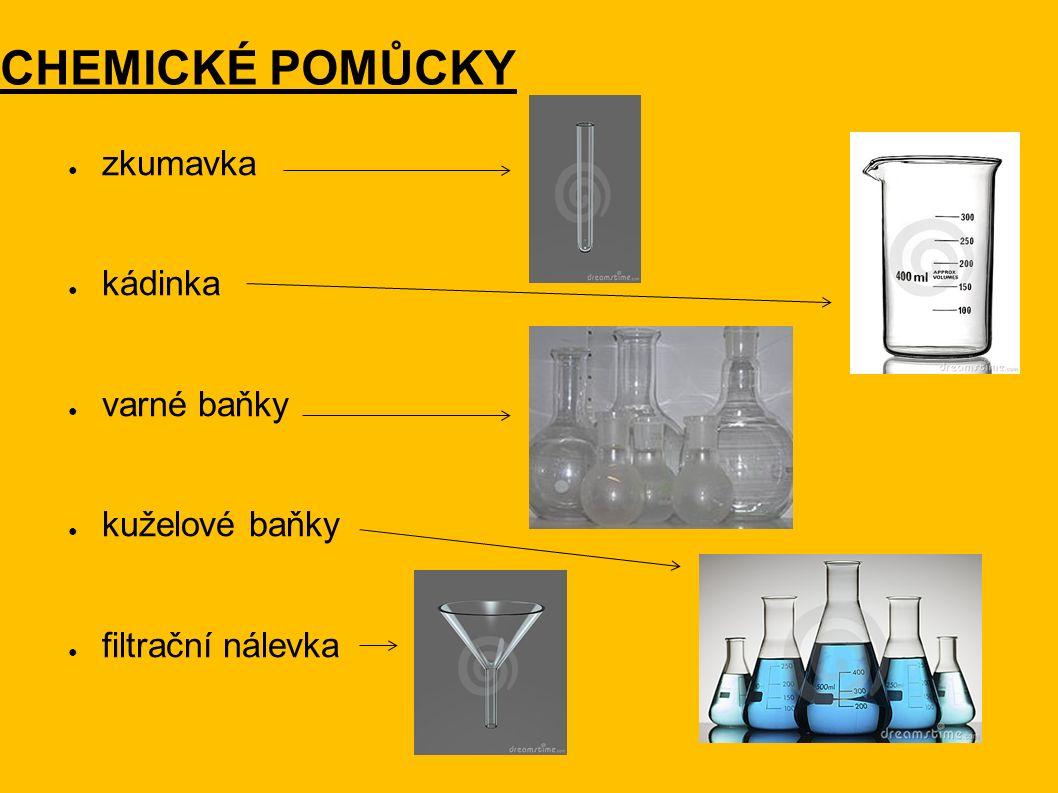 CHEMICKÉ POMŮCKY ● zkumavka ● kádinka ● varné baňky ● kuželové baňky ● filtrační nálevka