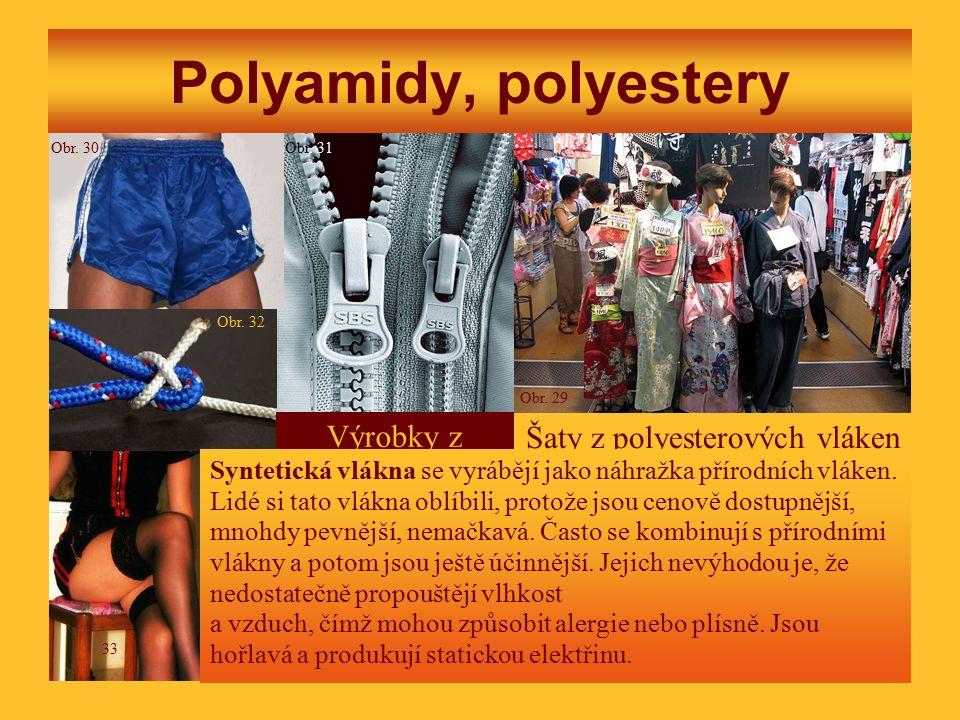 Polyamidy, polyestery Šaty z polyesterových vláken Výrobky z nylonu Syntetická vlákna se vyrábějí jako náhražka přírodních vláken.