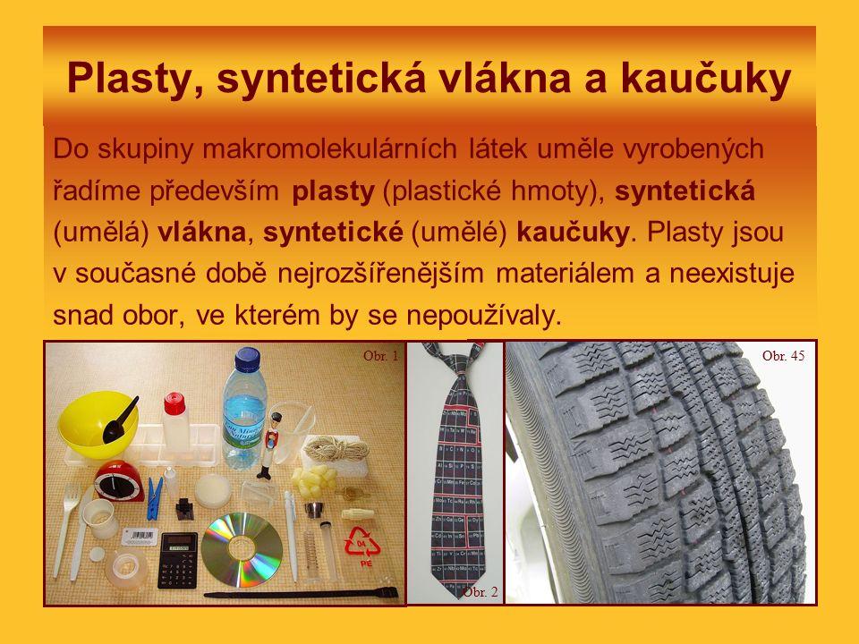 Plasty, syntetická vlákna a kaučuky Do skupiny makromolekulárních látek uměle vyrobených řadíme především plasty (plastické hmoty), syntetická (umělá)