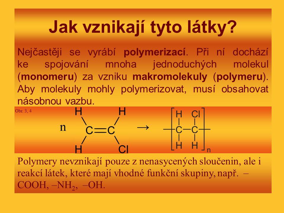 Jak vznikají tyto látky? Nejčastěji se vyrábí polymerizací. Při ní dochází ke spojování mnoha jednoduchých molekul (monomeru) za vzniku makromolekuly