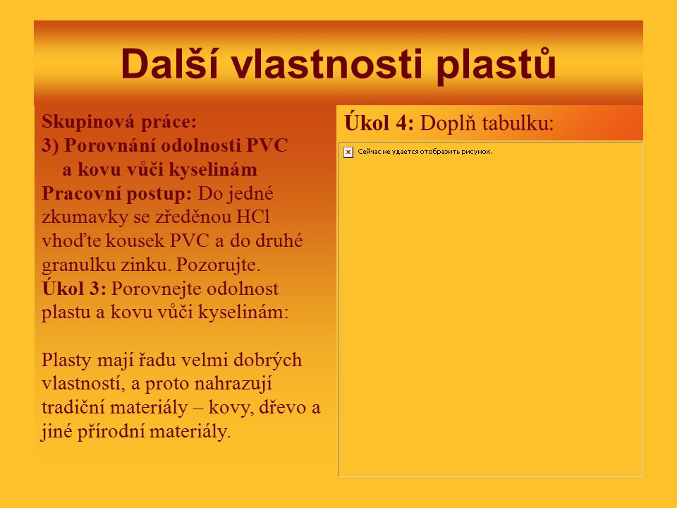 Další vlastnosti plastů Skupinová práce: 3) Porovnání odolnosti PVC a kovu vůči kyselinám Pracovní postup: Do jedné zkumavky se zředěnou HCl vhoďte kousek PVC a do druhé granulku zinku.