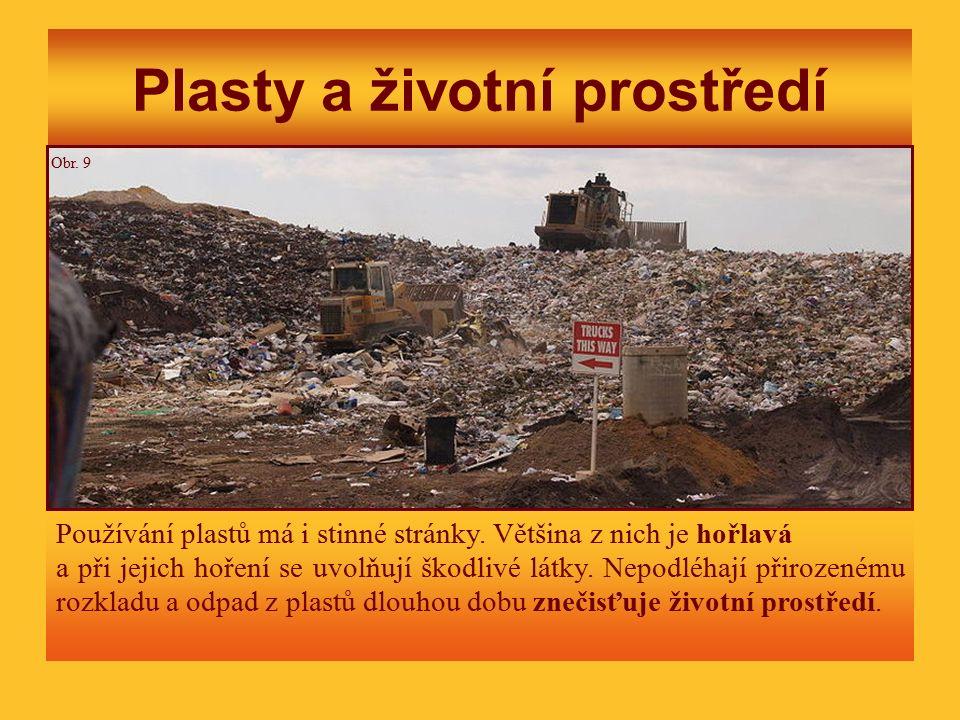 Plasty a životní prostředí Používání plastů má i stinné stránky. Většina z nich je hořlavá a při jejich hoření se uvolňují škodlivé látky. Nepodléhají