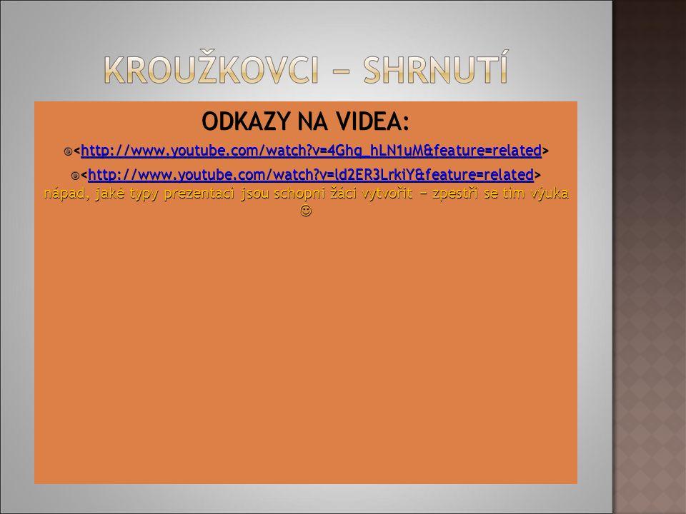ODKAZY NA VIDEA:   http://www.youtube.com/watch v=4Ghq_hLN1uM&feature=related  nápad, jaké typy prezentací jsou schopni žáci vytvořit − zpestří se tím výuka  nápad, jaké typy prezentací jsou schopni žáci vytvořit − zpestří se tím výuka http://www.youtube.com/watch v=ld2ER3LrkiY&feature=related
