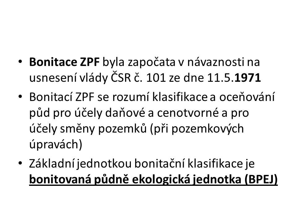 Bonitace ZPF byla započata v návaznosti na usnesení vlády ČSR č.