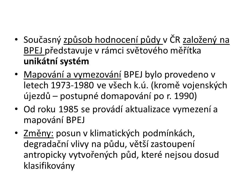 Současný způsob hodnocení půdy v ČR založený na BPEJ představuje v rámci světového měřítka unikátní systém Mapování a vymezování BPEJ bylo provedeno v letech 1973-1980 ve všech k.ú.