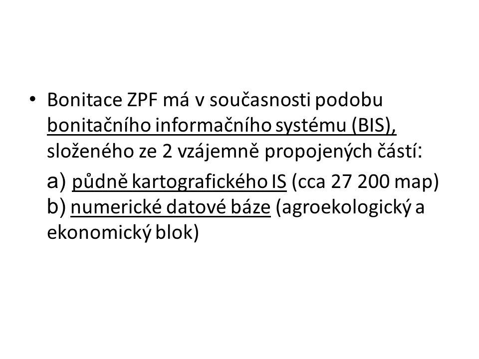Bonitace ZPF má v současnosti podobu bonitačního informačního systému (BIS), složeného ze 2 vzájemně propojených částí : a) půdně kartografického IS (cca 27 200 map) b) numerické datové báze (agroekologický a ekonomický blok)