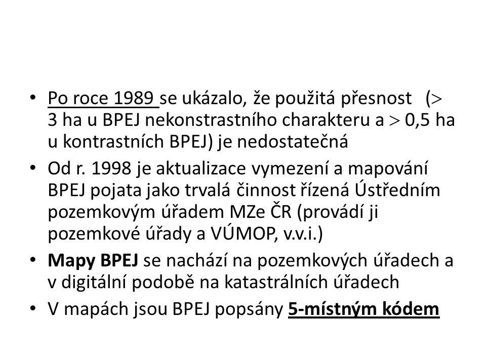 Po roce 1989 se ukázalo, že použitá přesnost (  3 ha u BPEJ nekonstrastního charakteru a  0,5 ha u kontrastních BPEJ) je nedostatečná Od r.