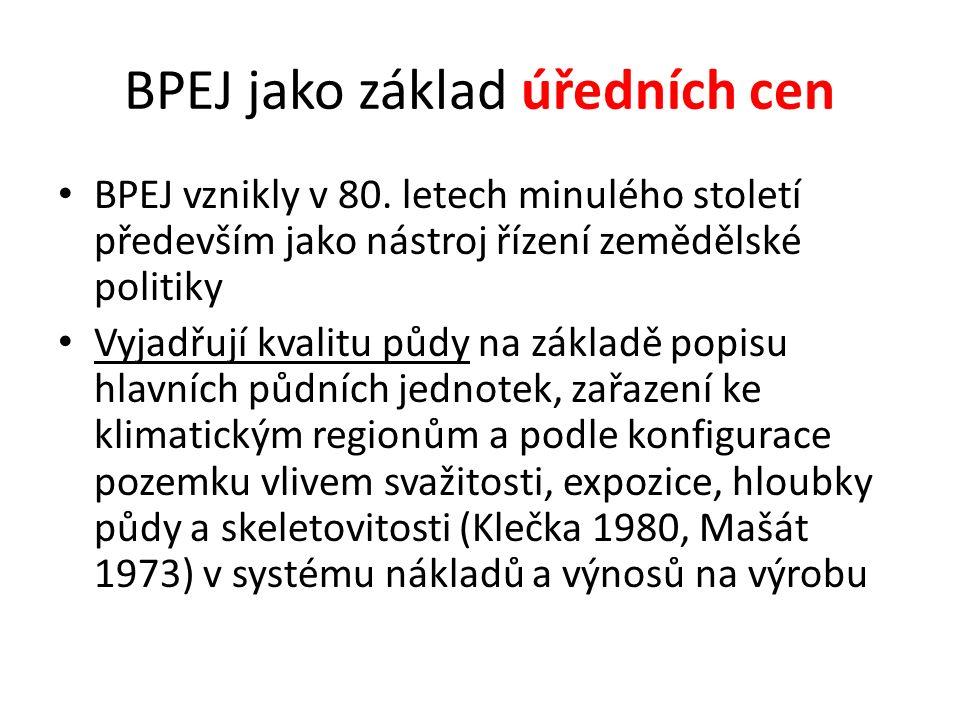 BPEJ jako základ úředních cen BPEJ vznikly v 80.