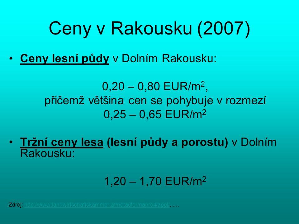 Ceny v Rakousku (2007) Ceny lesní půdy v Dolním Rakousku: 0,20 – 0,80 EUR/m 2, přičemž většina cen se pohybuje v rozmezí 0,25 – 0,65 EUR/m 2 Tržní ceny lesa (lesní půdy a porostu) v Dolním Rakousku: 1,20 – 1,70 EUR/m 2 Zdroj: http://www.landwirtschaftskammer.at/netautor/napro4/appl/......http://www.landwirtschaftskammer.at/netautor/napro4/appl/