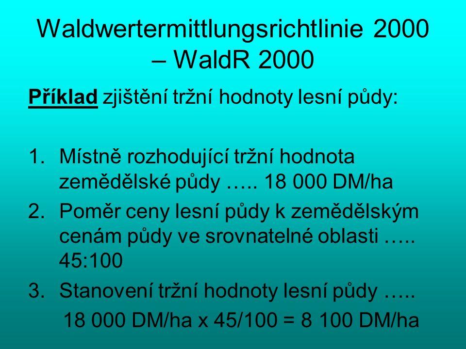 Waldwertermittlungsrichtlinie 2000 – WaldR 2000 Příklad zjištění tržní hodnoty lesní půdy: 1.Místně rozhodující tržní hodnota zemědělské půdy ….. 18 0