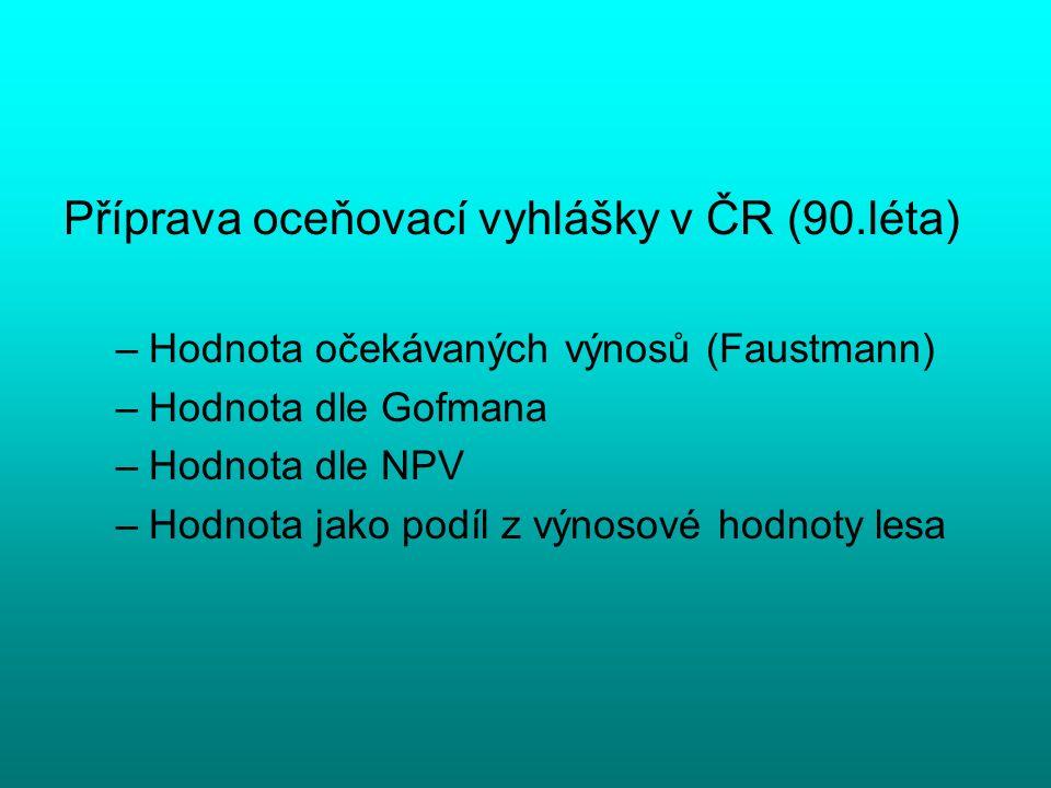 Příprava oceňovací vyhlášky v ČR (90.léta) –Hodnota očekávaných výnosů (Faustmann) –Hodnota dle Gofmana –Hodnota dle NPV –Hodnota jako podíl z výnosov