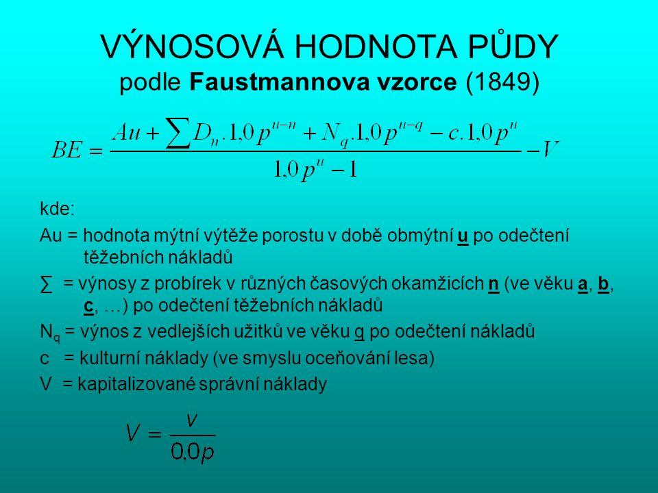 VÝNOSOVÁ HODNOTA PŮDY podle Faustmannova vzorce (1849) kde: Au = hodnota mýtní výtěže porostu v době obmýtní u po odečtení těžebních nákladů ∑ = výnos
