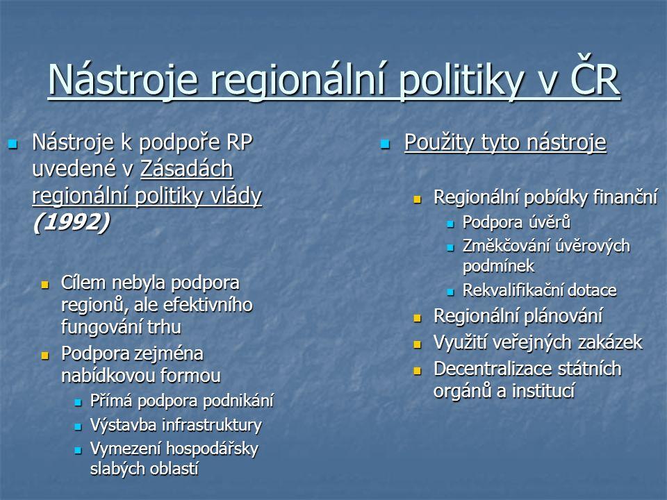 Nástroje regionální politiky v ČR Nástroje k podpoře RP uvedené v Zásadách regionální politiky vlády (1992) Nástroje k podpoře RP uvedené v Zásadách regionální politiky vlády (1992) Cílem nebyla podpora regionů, ale efektivního fungování trhu Cílem nebyla podpora regionů, ale efektivního fungování trhu Podpora zejména nabídkovou formou Podpora zejména nabídkovou formou Přímá podpora podnikání Přímá podpora podnikání Výstavba infrastruktury Výstavba infrastruktury Vymezení hospodářsky slabých oblastí Vymezení hospodářsky slabých oblastí Použity tyto nástroje Použity tyto nástroje Regionální pobídky finanční Podpora úvěrů Změkčování úvěrových podmínek Rekvalifikační dotace Regionální plánování Využití veřejných zakázek Decentralizace státních orgánů a institucí
