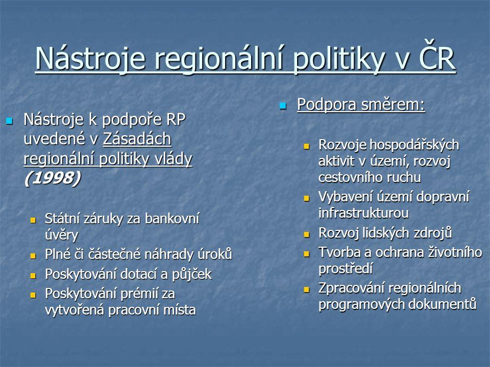 Nástroje regionální politiky v ČR Nástroje k podpoře RP uvedené v Zásadách regionální politiky vlády (1998) Nástroje k podpoře RP uvedené v Zásadách regionální politiky vlády (1998) Státní záruky za bankovní úvěry Státní záruky za bankovní úvěry Plné či částečné náhrady úroků Plné či částečné náhrady úroků Poskytování dotací a půjček Poskytování dotací a půjček Poskytování prémií za vytvořená pracovní místa Poskytování prémií za vytvořená pracovní místa Podpora směrem: Podpora směrem: Rozvoje hospodářských aktivit v území, rozvoj cestovního ruchu Vybavení území dopravní infrastrukturou Rozvoj lidských zdrojů Tvorba a ochrana životního prostředí Zpracování regionálních programových dokumentů