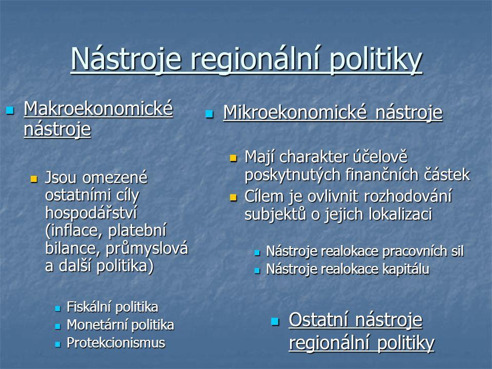 Nástroje regionální politiky Makroekonomické nástroje Makroekonomické nástroje Jsou omezené ostatními cíly hospodářství (inflace, platební bilance, průmyslová a další politika) Jsou omezené ostatními cíly hospodářství (inflace, platební bilance, průmyslová a další politika) Fiskální politika Fiskální politika Monetární politika Monetární politika Protekcionismus Protekcionismus Mikroekonomické nástroje Mikroekonomické nástroje Mají charakter účelově poskytnutých finančních částek Cílem je ovlivnit rozhodování subjektů o jejich lokalizaci Nástroje realokace pracovních sil Nástroje realokace kapitálu Ostatní nástroje regionální politiky Ostatní nástroje regionální politiky