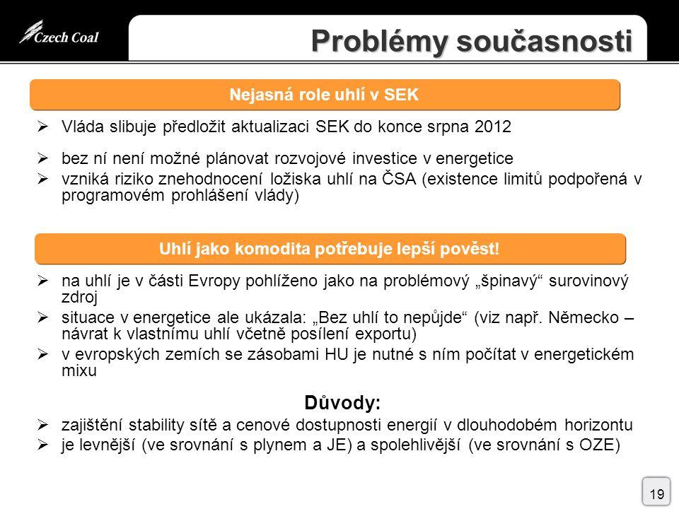 """Problémy současnosti  Vláda slibuje předložit aktualizaci SEK do konce srpna 2012  bez ní není možné plánovat rozvojové investice v energetice  vzniká riziko znehodnocení ložiska uhlí na ČSA (existence limitů podpořená v programovém prohlášení vlády)  na uhlí je v části Evropy pohlíženo jako na problémový """"špinavý surovinový zdroj  situace v energetice ale ukázala: """"Bez uhlí to nepůjde (viz např."""
