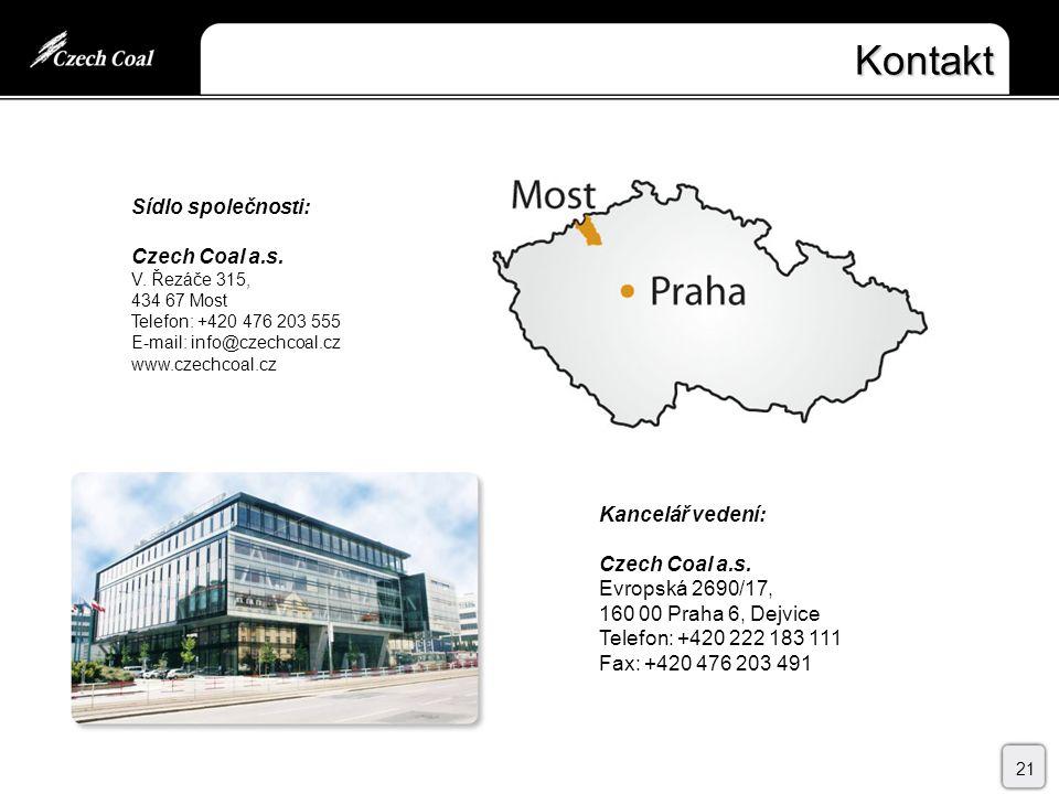 Kontakt 21 Kancelář vedení: Czech Coal a.s.