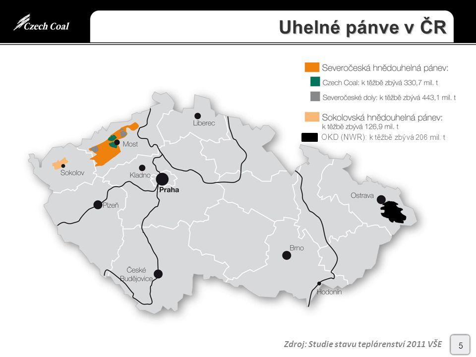 Uhelné pánve v ČR 5 Zdroj: Studie stavu teplárenství 2011 VŠE OKD (NWR): k těžbě zbývá 206 mil. t