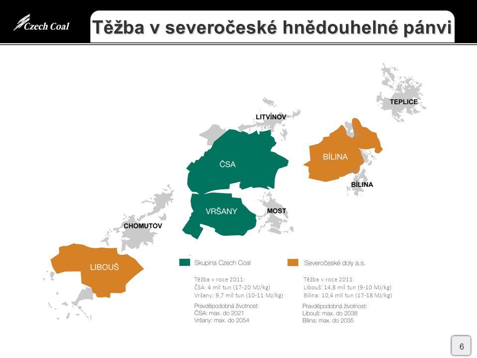 Těžba v severočeské hnědouhelné pánvi 6 Těžba v roce 2011: ČSA: 4 mil tun (17-20 MJ/kg) Vršany: 9,7 mil tun (10-11 MJ/kg) Těžba v roce 2011: Libouš: 14,8 mil tun (9-10 MJ/kg) Bílina: 10,4 mil tun (17-18 MJ/kg)