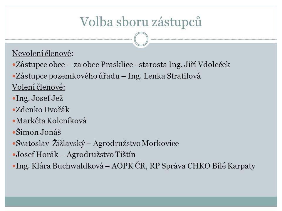Volba sboru zástupců Nevolení členové: Zástupce obce – za obec Prasklice - starosta Ing.