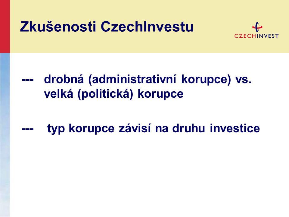 Zkušenosti CzechInvestu ---drobná (administrativní korupce) vs.