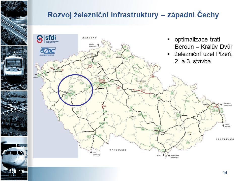 Rozvoj železniční infrastruktury – západní Čechy 14  optimalizace trati Beroun – Králův Dvůr  železniční uzel Plzeň, 2.