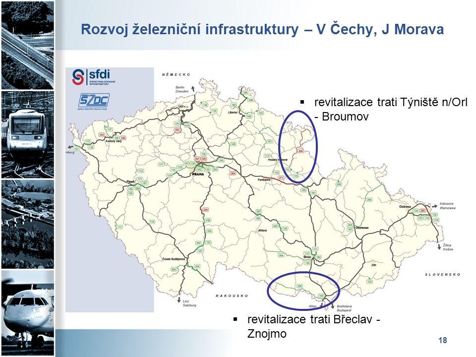 Rozvoj železniční infrastruktury – V Čechy, J Morava 18  revitalizace trati Týniště n/Orl - Broumov  revitalizace trati Břeclav - Znojmo