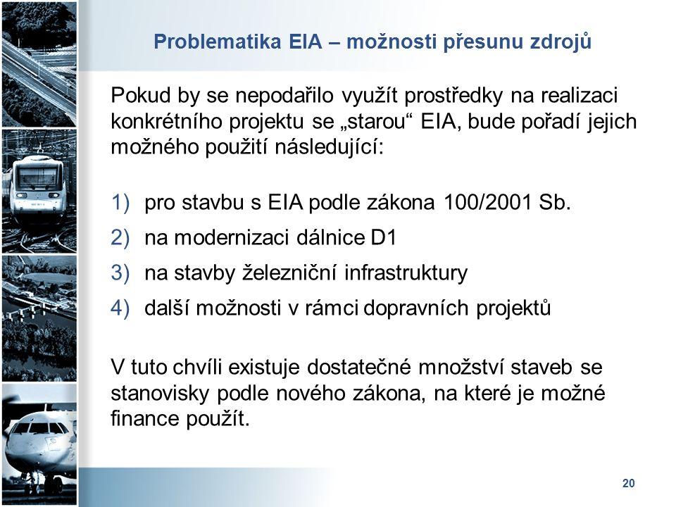 """Problematika EIA – možnosti přesunu zdrojů Pokud by se nepodařilo využít prostředky na realizaci konkrétního projektu se """"starou EIA, bude pořadí jejich možného použití následující: 1)pro stavbu s EIA podle zákona 100/2001 Sb."""