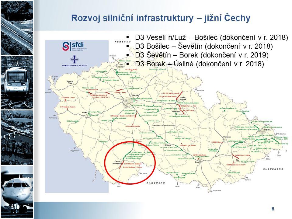 Rozvoj silniční infrastruktury – severozápadní Čechy 7  D7 Postoloprty – Bítozeves  D8 Lovosice – Řehlovice (dokončení 12/2016)